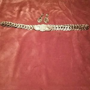 Gold belt with matching earrings